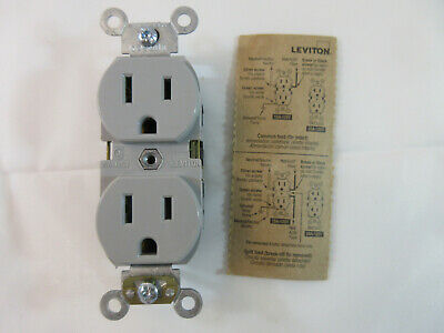 15A 125V Industrial Heavy Duty Grade, Duplex Receptacle, Gray, Straight Blade
