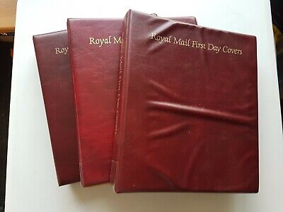 3 x Royal Mail first day cover albums with circa 85 leaves. Good condition.