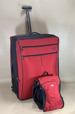 """Victorinox Werks Red Set 13"""" Tote & 27"""" Expandable Upright Suitcase Luggage"""