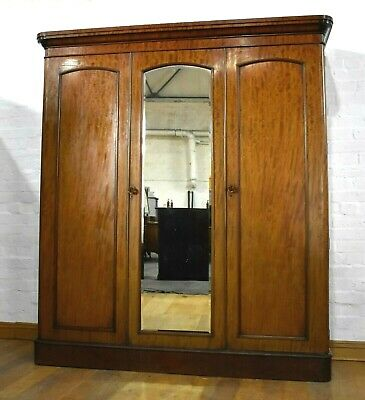 Antique Victorian mahogany triple door wardrobe