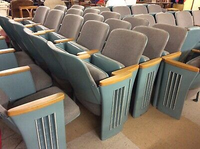 Vintage 1930's Theater Seats Art Deco Antique Cast Iron Legs - 11 rows of 4 or 5