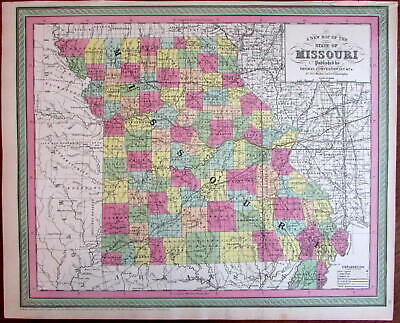 Missouri state map showing canals & railroads 1850 Cowperthwait scarce issue