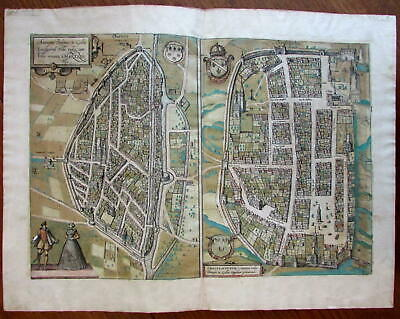 Chartres France city plan c.1580 Braun & Hogenberg original antique map