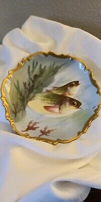 Antique Limoges Plate Coronet Fish Hand Painted Signed.by Artist Rakin  10""