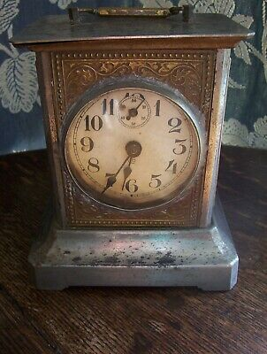 Antique Musical Metal Clock Plays a Tune on the Hour