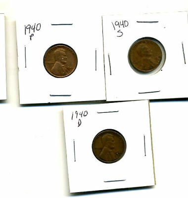 1940 P,d,s Wheat Pennies Lincoln Cents Circulated 2X2 Flips 3 Coin Pds Set#883