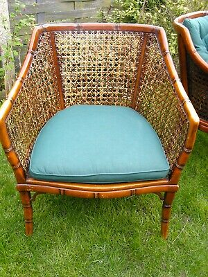Antique Bergere Cane Chairs x 2 , Cane & wood Carved Vintage Chair