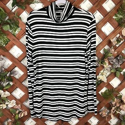 Old Navy LUXE Size Large Black White Stripe Turtle Neck Long Sleeve Top