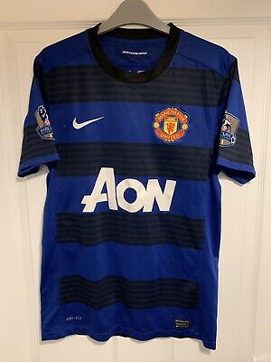 2011/2013 Manchester United away football shirt Nike small men's AON patches