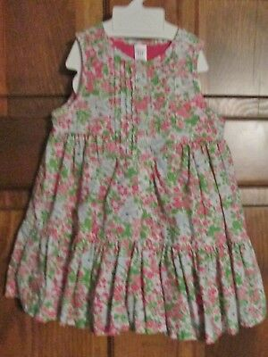 85e8bcd587 NWOT BABY GAP Pretty Pink Green Floral Print Lined Ruffle Sun Dress - Size  6-