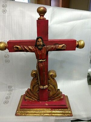 Large Mexican Hand Carved Wood Crucifix Cross Folk Art Primitive