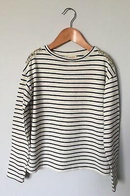 NEW Zara Girls Breton Navy Striped Long Sleeved Top Gold Detail 8 Years Fits 8 9