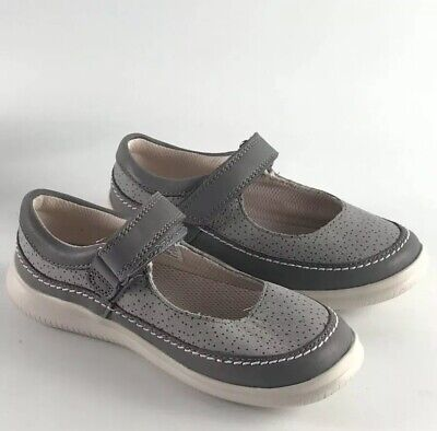 Clarks Air Spring Fit Girls Children's Kids Shoes Mary Jane Grey Size 10.5G
