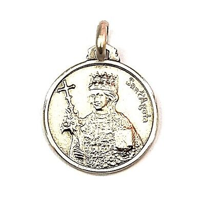 16MM Sterling Silver 925 St Agatha of Sicily Medal Necklace Pendant Charm-ITALY