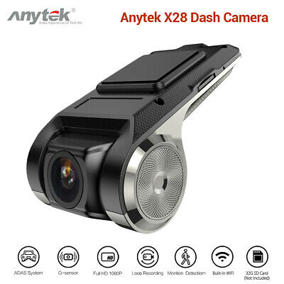 Anytek X28 FHD 1080P 150°FOV WiFi Dash Camera Recorder Video Auto ADAS G-sensor