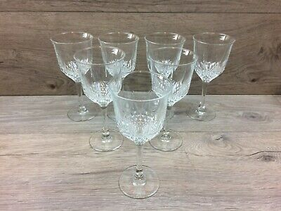 Set Of 7 Crystal Glass Goblets/Wine Glasses  - 165mm Tall