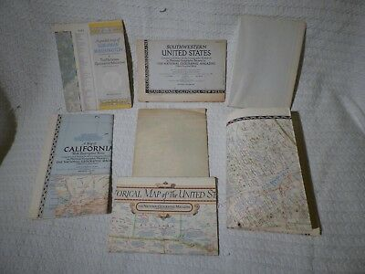 7 x Vintage National Geographic Maps of United States of America USA  1930s 1950