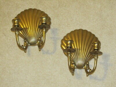 Vintage Pair Solid Brass Clam Shell Wall Sconce Double Arm Candle Holders