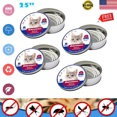 "4 PCS Cat Anti Flea and Tick 6-8 Month Protection Cats DOG 25"" Collar Waterproof"