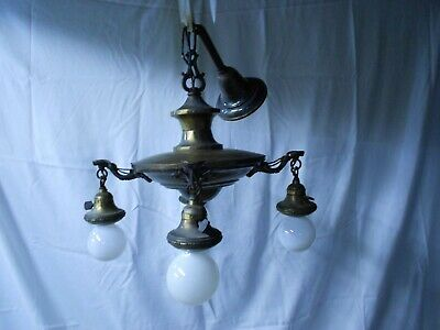 Vtg Lighting Unrestored Antique 1920'S Brass (4) Light Bare Bulb Pan Chandelier