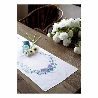 Embroidery Kit Runner Butterfly Splendour Stitched on Cotton Fabric|40x100cm