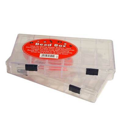 Compact Storage Bead Box with Eighteen Components & Hinged, Shut Tight Lid