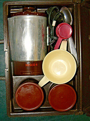 Vitg Nesco Traveler Coffee Maker Travel Kit 10 Piece Percolator Pot Cups TESTED