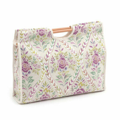HobbyGift HGCB357 | Buttermere Hollyhock Craft Bag | Wood Handles | 11x42x30cm