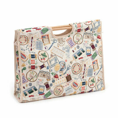 HobbyGift HGCB366 | Sewing Notions Craft Bag | Wooden Handles | 11x42x30cm