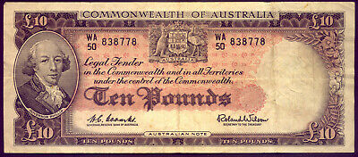 R63 TEN POUND NOTE: COOMBS and WILSON  CRISP and VF NO RESERVE