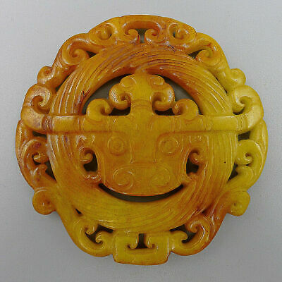 Chinese Natural Old Jade Plate Hand Carved Totems Jadeite Charm Amulet Pendants
