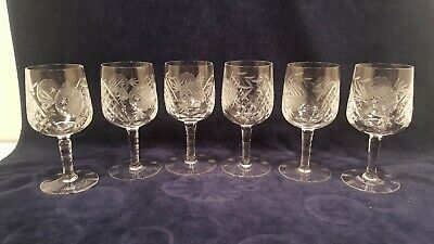Antique Hand Blown & Cut Etched Long Stem Crystal Wine Glasses 8 oz