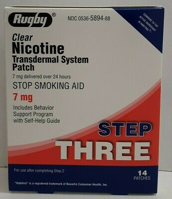 Rugby Clear Nicotine Transdermal System Patch Step Three 7 mg 14 Count Exp 10/20
