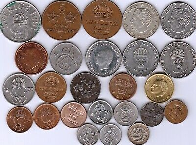 25 different world coins from SWEDEN some silver