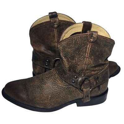 ecc488365ee FRYE WYATT HARNESS S Brown Leather Designer Boots Ankle Boots 5.5 M ...