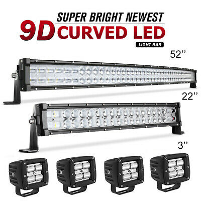"""52inch LED Light Bar Curved +32inch Combo +3"""" Pods Offroad Driving 4WD ATV SUV"""