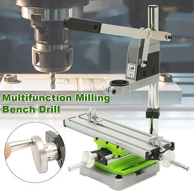 2 Axis Milling Working Table Cross Sliding Bench Drill Vise Fixture +Drill