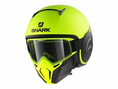 Matt Black Yellow Blue Green Shark Street Drak Hurok Jet Motorcycle Helmet RAW