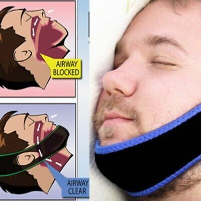 Anti Snore Sleep Apnea Stop Snoring Strap Belt Jaw Solution Chin Support NEW_UK