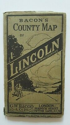 Vintage Bacon's County Map of Lincoln on cloth with parts of adjoining counties