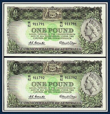 Unc Consecutive Pair Pound Banknotes Coombs/Wilson 1960 HK/62-911791  R-34