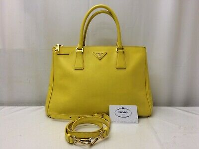 07e03c6f299b13 Authentic Prada Leather 2 way Shoulder Tote Hand Bag Yellow 9D120450n