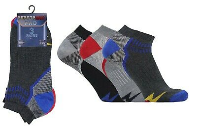3 Pairs Mens 6-11 Design Coloured Striped Trainer Summer Ankle Socks Cotton Lot
