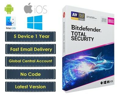 Bitdefender Total Security 2020   5 Devices 1 Years   for Windows, Mac, Android