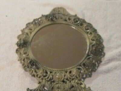 Antique Gilt Gold Cast Iron Victorian Rococo Ornate Oval Picture Frame