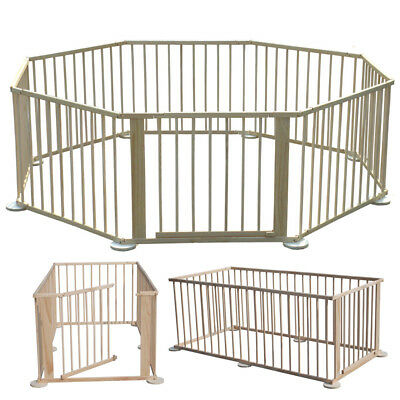 Wooden Baby Playpen 8 Panel Portable Play Yard Baby Fence Natural Wood Color