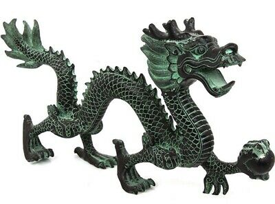 Big Chinese Brass Dragon Hold Bead Statue Feng Shui Animal Decor
