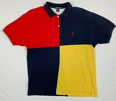 71d3025bc NAUTICA POLO SHIRT sz large color block vintage 90s sailboat logo ...