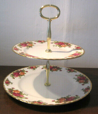 Gorgeous Royal Albert 2 Tier Cake Stand Old Country Roses Floral Bone China