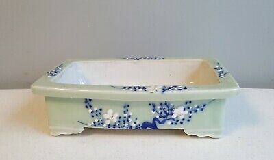 Antique Chinese Celadon Decorated Box Shaped Low Planter, Footed